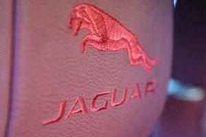 Broderet logo med rød søm