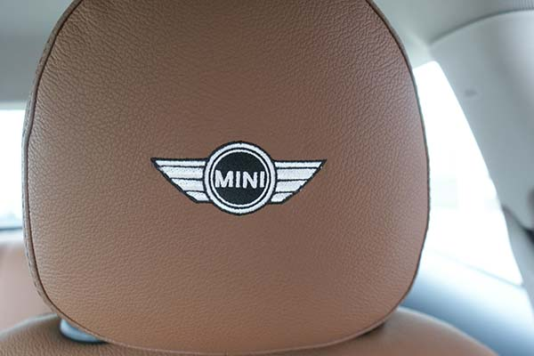 MINI Cooper Alba eco-leather Kaneelbruin Geborduurd Logo