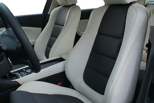 Mazda 6 Buffalino Leder Antraciet Wit Voorstoelen